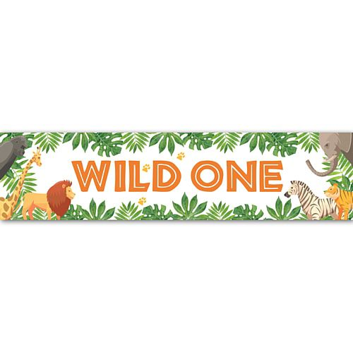 Wild One Jungle Animals Banner Decoration - 1.2m