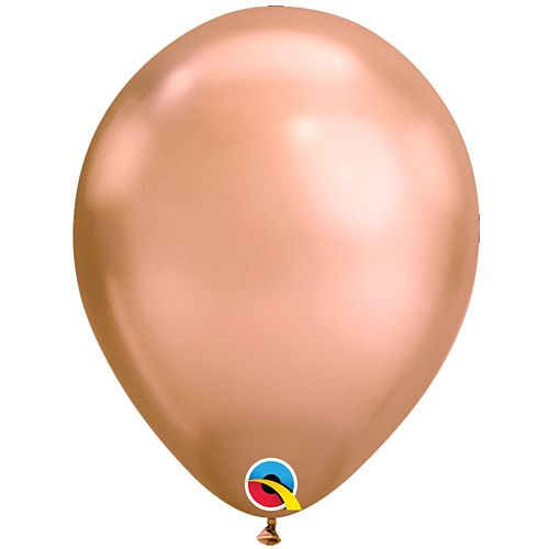 "Rose Gold Chrome Metallic Latex Balloons - 11"" - Pack of 10"