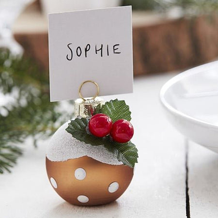 Christmas Pudding Bauble Place Card Holders - Pack of 6
