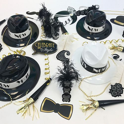 New Year 1920s Hat and Novelty Party Pack for 20 People