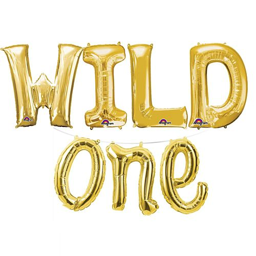 'Wild One' Gold Foil Letter Balloon Pack