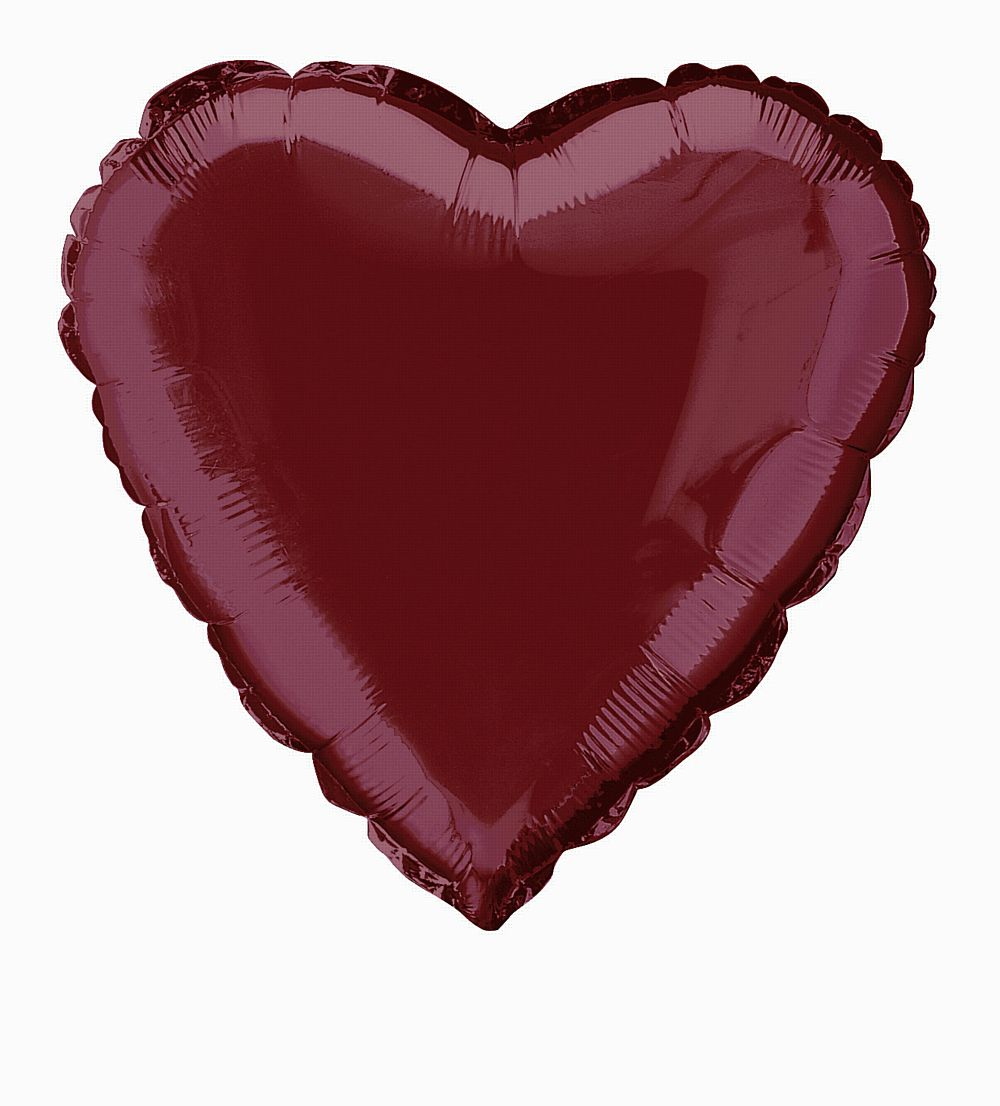 Burgundy Heart Shaped Foil Balloon 18""
