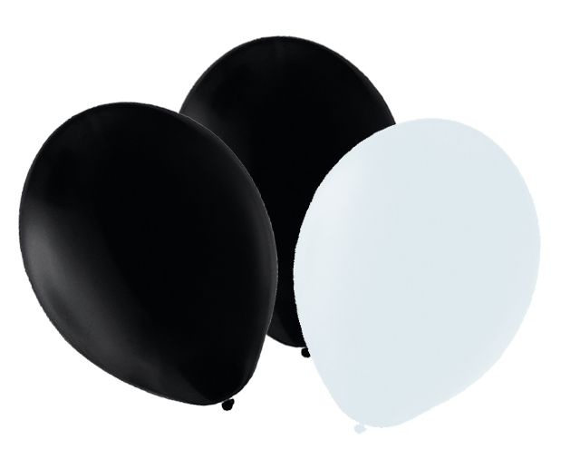 "Black and White Latex Balloons 10"" - Pack of 50"