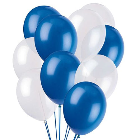Blue and White Latex Balloons - 10