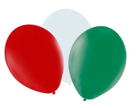 Red, White and Green Latex Balloons - 10