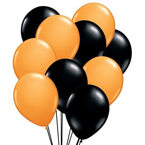 "Black and Orange Latex Balloons - 10"" - Pack of 50"