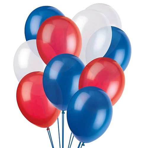 "Red, White and Blue Latex Balloons - 10"" - Pack of 50"