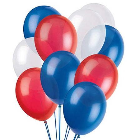 Red, White and Blue Latex Balloons - 10