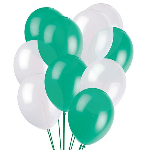 "Green and White Latex Balloons - 10"" - Pack of 50"