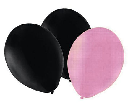 Pink and Black Latex Balloons - 10