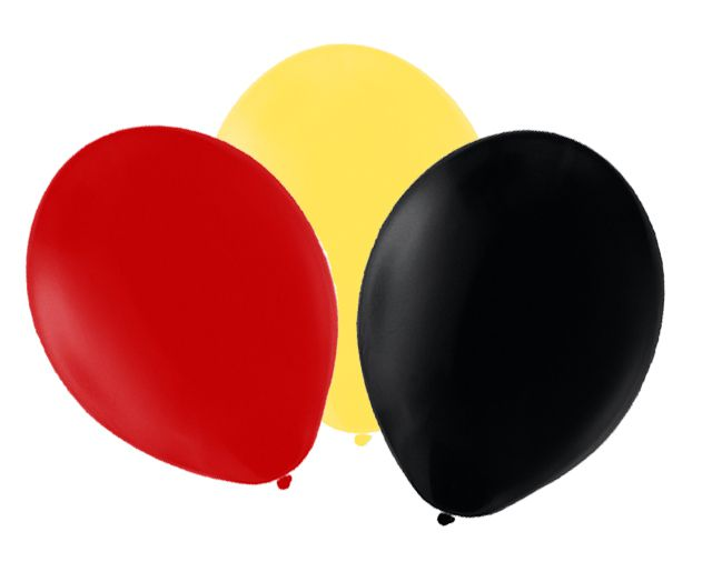 "Red, Yellow and Black Latex Balloons - 10"" - Pack of 50"