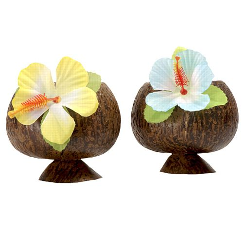 Plastic Coconut Cup with Flower - 284ml