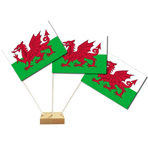 Welsh Paper Table Flags 15cm on 30cm Pole