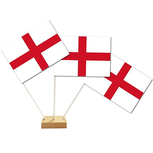 England St George Paper Table Flags 15cm on 30cm Pole