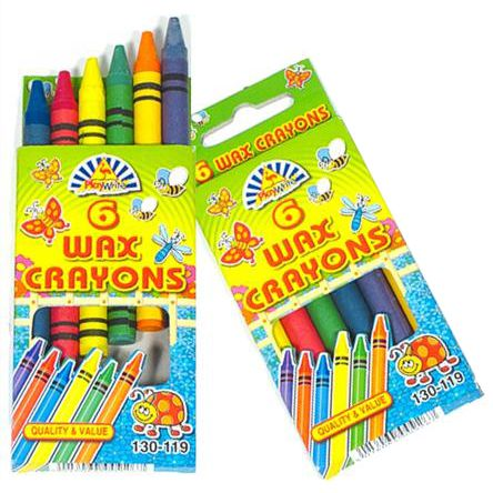 Box of 6 Wax Crayons - 9cm