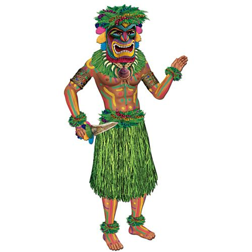 Tiki Man Jointed Cutout Wall Decoration - 96cm