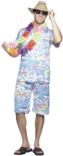 Blue Hawaiian Floral Shirt & Shorts Costume
