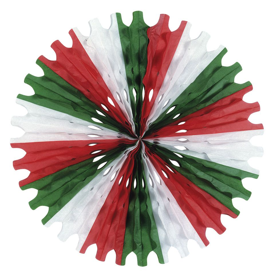 Red, White & Green Paper Fan - 63.5cm
