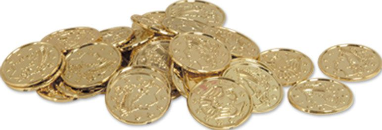 Plastic Gold Coins - Pack of 100
