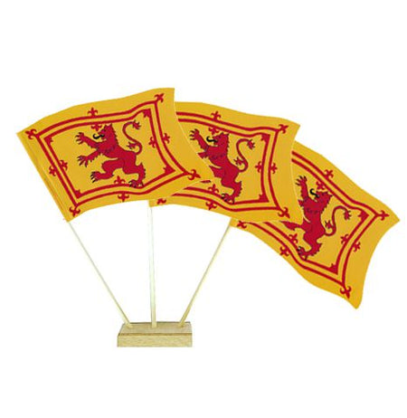 Scottish Rampant Lion Paper Table Flags 15cm on 30cm Pole