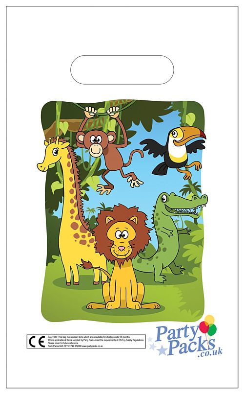 Jungle Animals Party Bags - 31cm - Each
