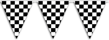 Checkered Flag Plastic Bunting - 9.14m - 15 Flags