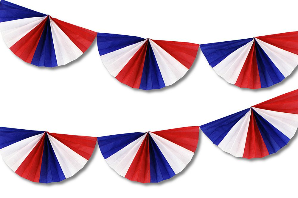 Red, White & Blue Fan Garland - 9'