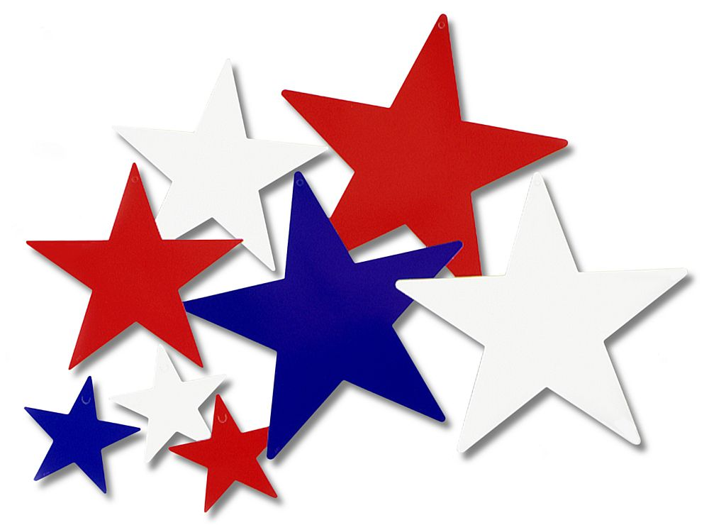 Red, White and Blue Star Card Cutout Decorations - Pack of 9 - 30cm - 13cm