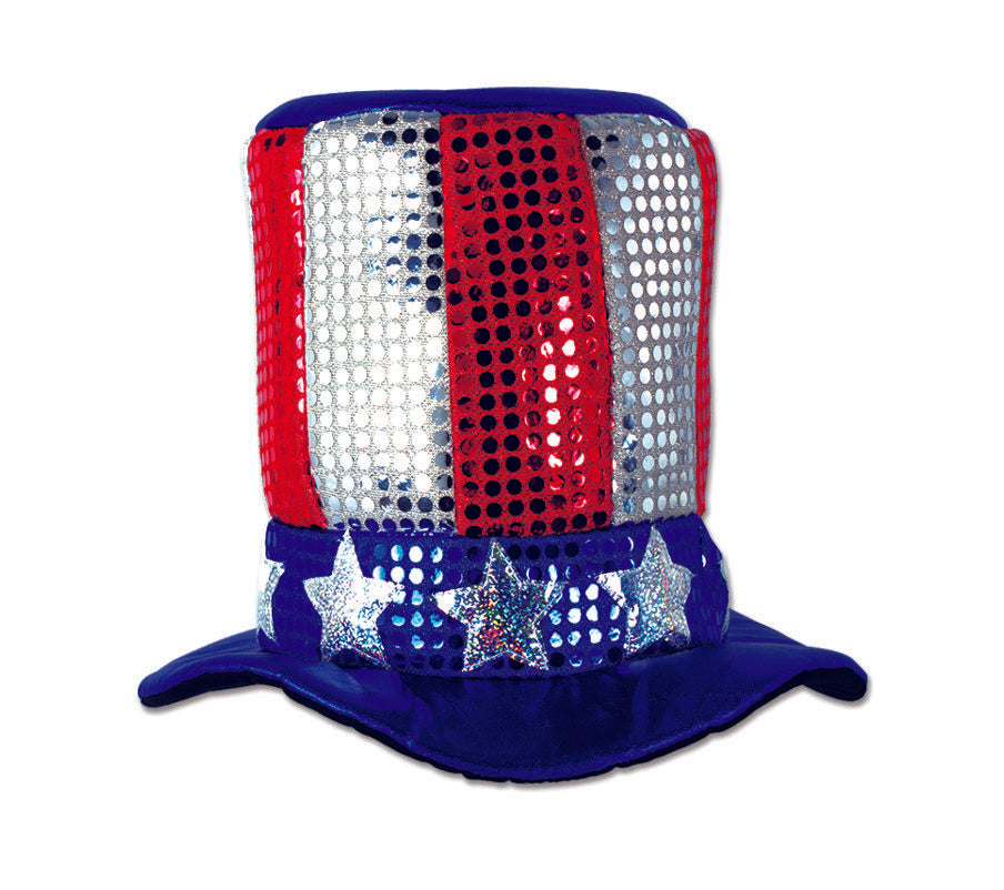 Sequin Effect American Uncle Sam Top Hat - Each