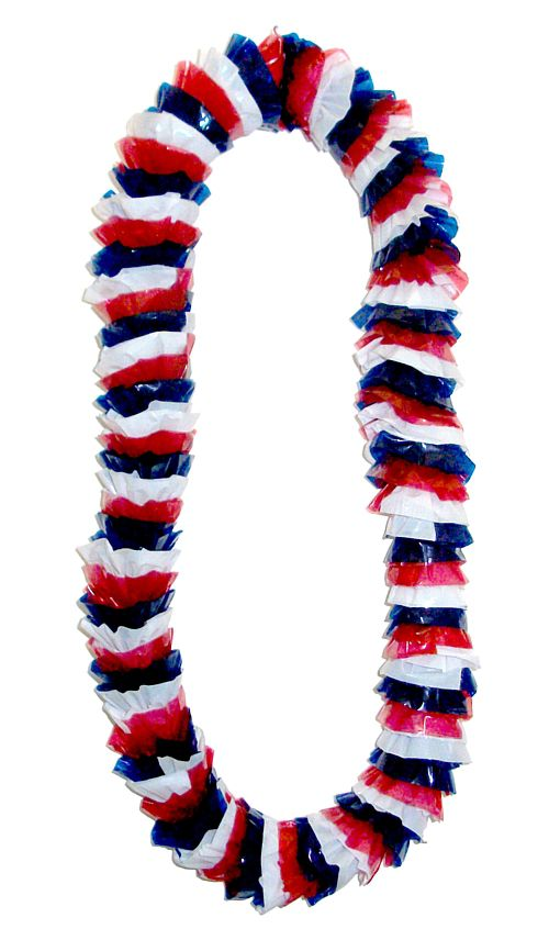 Red White & Blue Hawaiian Lei - 36inch