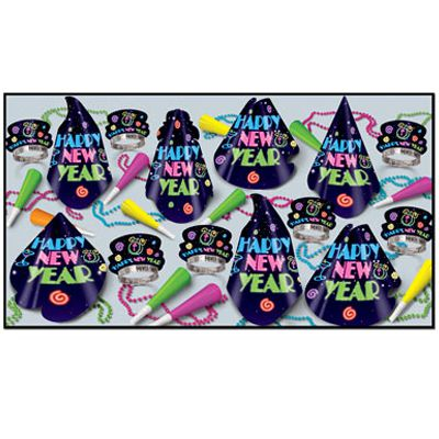 Neon Midnight Hat and Novelty Party Pack For 50 People