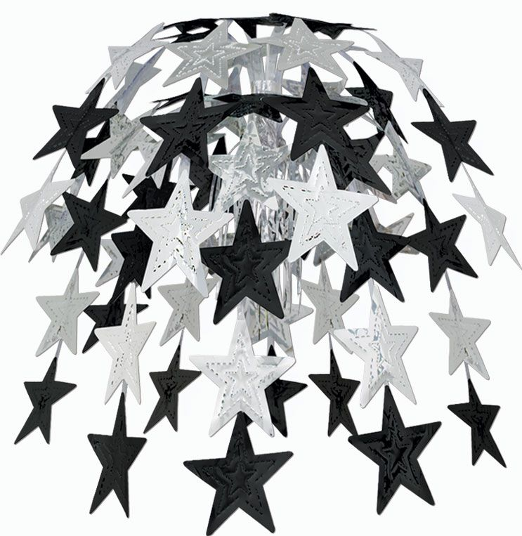 Black & Silver Star Cascade - 24""
