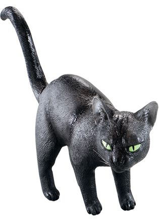 Plastic Life-Size Black Cat Decoration - 44cm