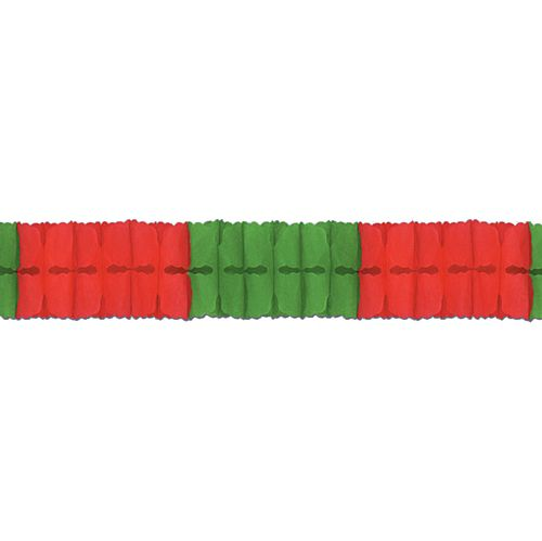 Red & Green Tissue Paper Garland - 4m