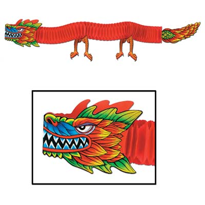 Chinese Dragon 3D Hanging Tissue Decoration - 1.8m