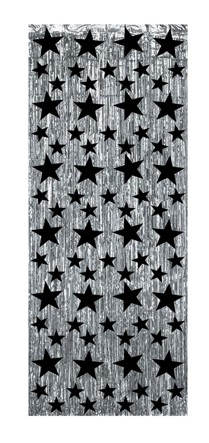 Silver with Black Stars Shimmer Curtain - 2.44m