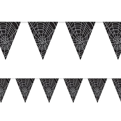 Spider Web Halloween  'All Weather' Flag Bunting - 3.7m (12') - 12 Flags