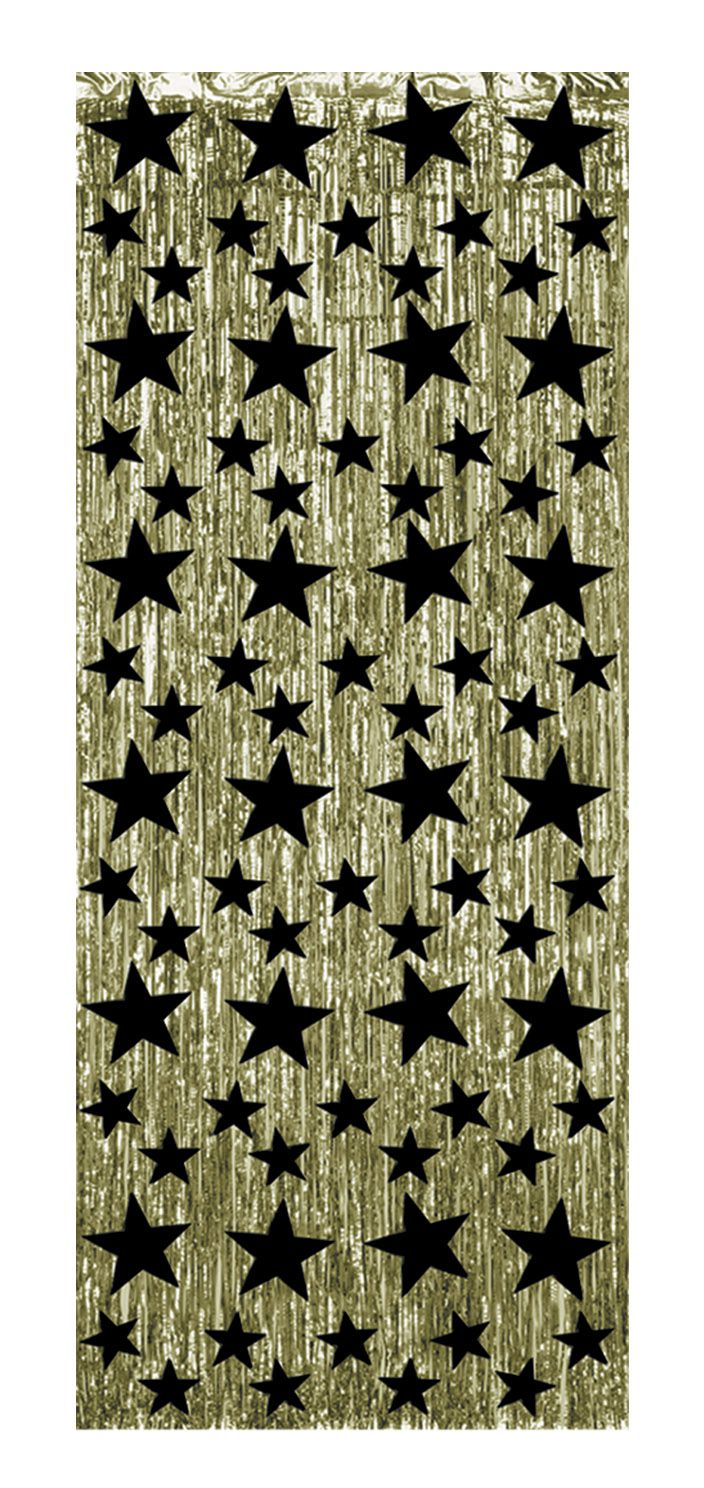 Gold with Black Stars Shimmer Curtain - 2.44m