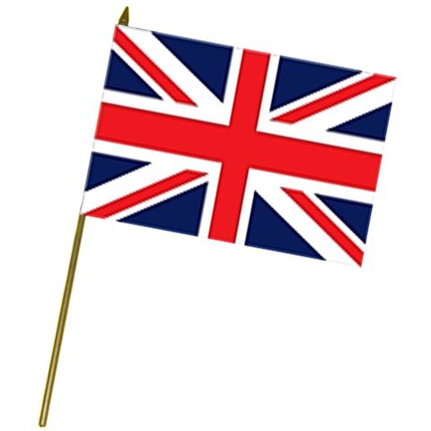 British Union Jack Cloth Flag on Pole - 61cm x 46cm