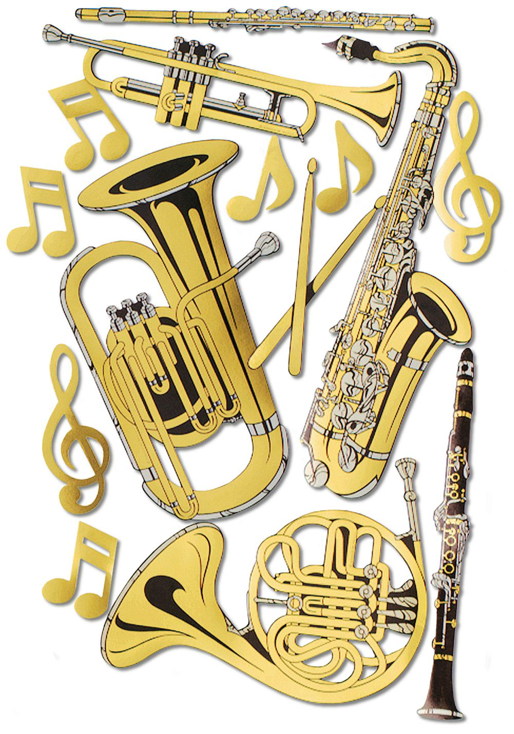 "Musical Instrument Cutouts Set of 15 - 17"" to 23.5"""