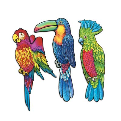 Exotic Bird Cutouts - Assorted Designs - 43.2cm - Pack of 3