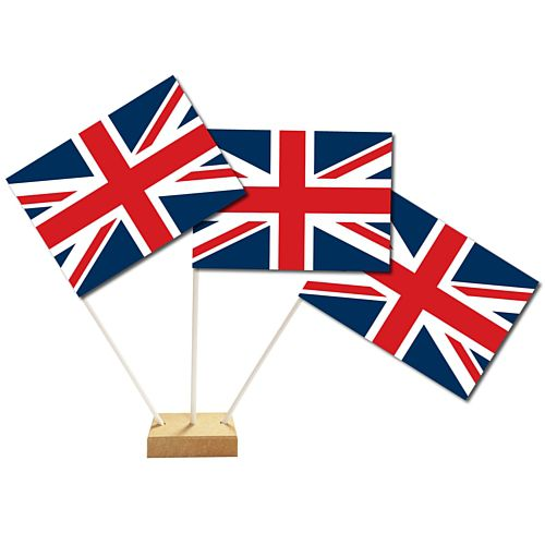 British Union Jack Paper Table Flags 15cm x 10cm on 30cm Pole