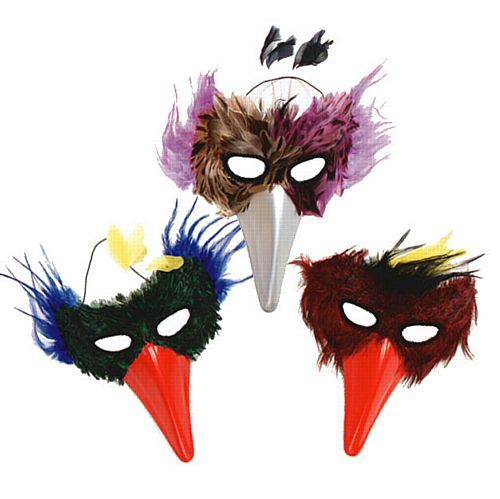 Assorted Bird with Beak Feather Mask