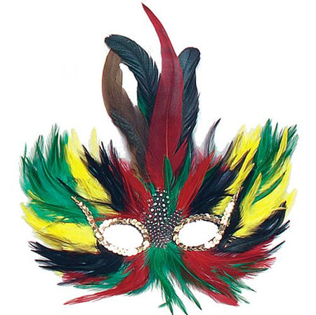 Red, Green & Yellow Feather Eye Mask