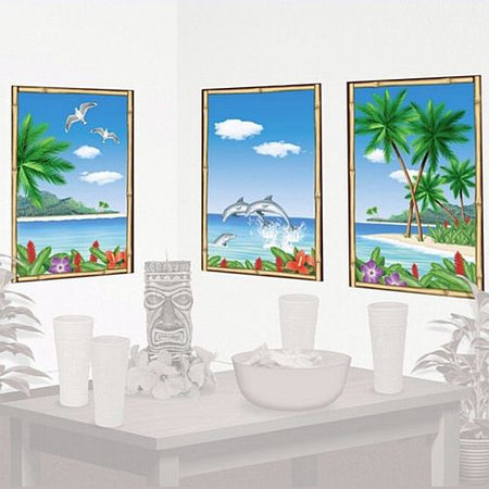 Tropical View Window Wall Decorations - 83cm - Set of 3