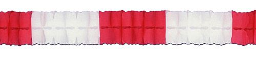 Red & White Tissue Paper Garland - 4m
