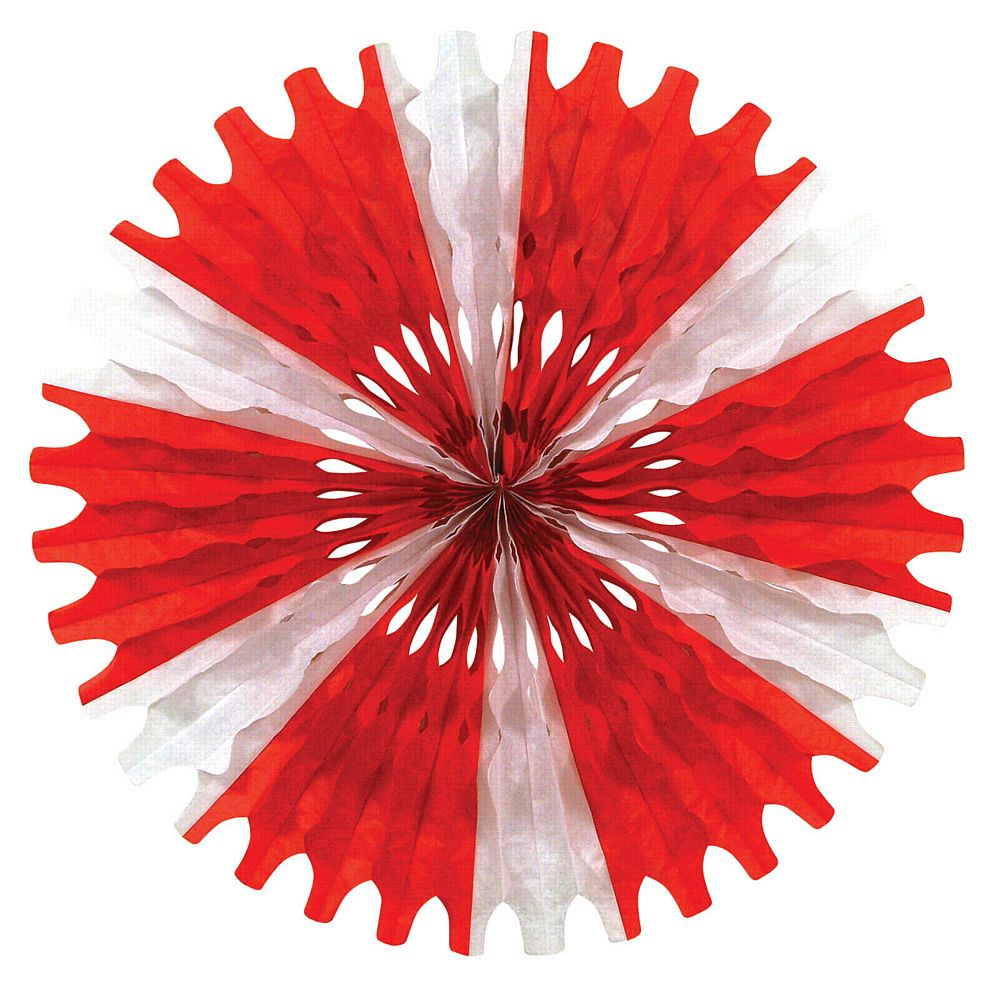Red & White Paper Fan - 63.5cm