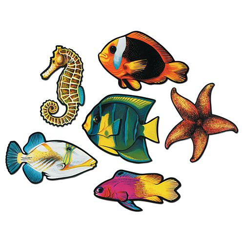 Tropical Fish Cutouts - Assorted Designs - 38.1cm - Pack of 6