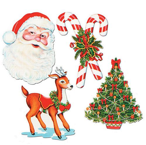 Christmas Cutouts Assorted Designs - Set of 4 - 16""
