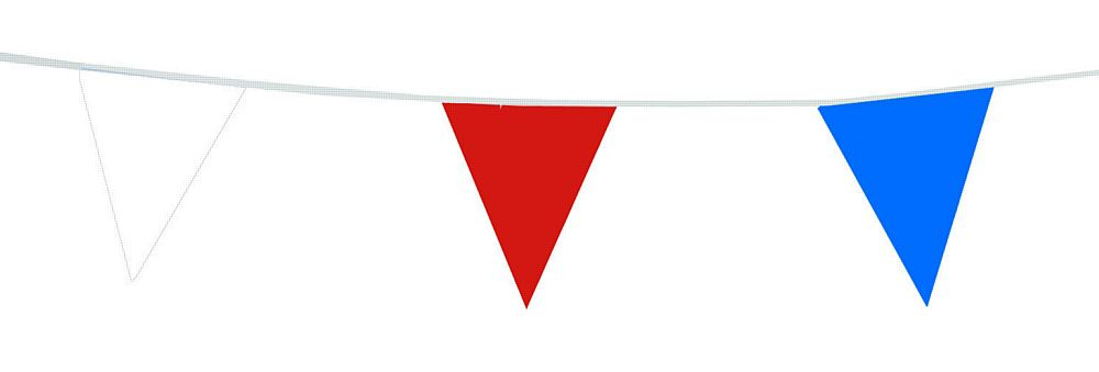 Red, White & Blue PVC Bunting 30ft (10m) - Best Quality - Made in the UK